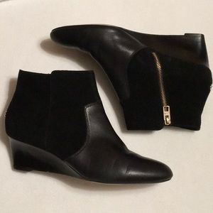 Coach Mystic Black Suede Wedge Boots sz 10